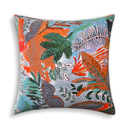 Coussin Jungle orange bleu