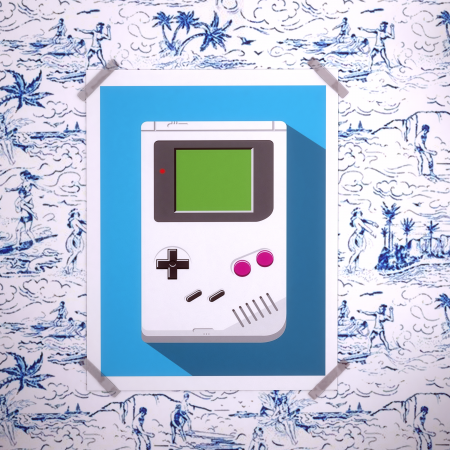 Art-Poster -Retro Gamer : Game Boy- Olivier Bourdereau
