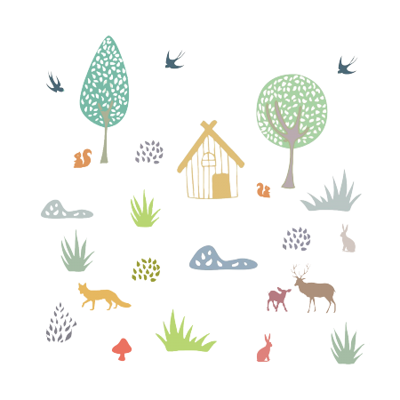STICKERS ANIMAUX DE LA FORET