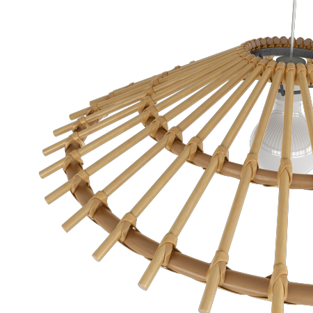SUSPENSION VINTAGE EN ROTIN NATUREL