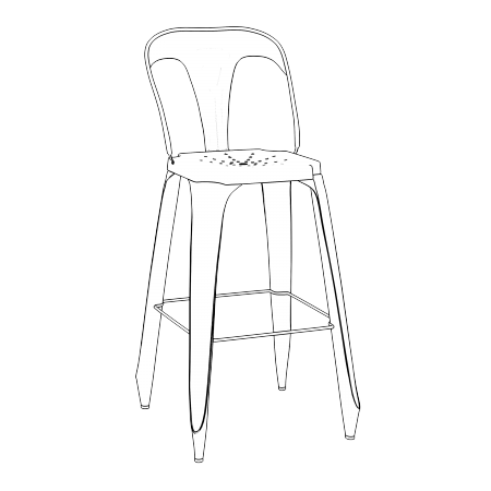 LOT DE 2 CHAISES DE BAR INDUS