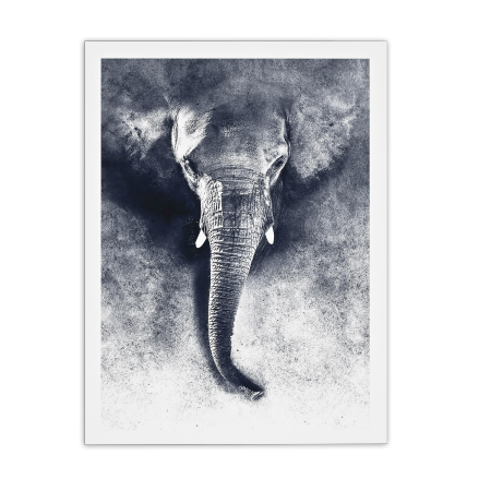 ART POSTER ELEPHANT BLACK AND WHITE