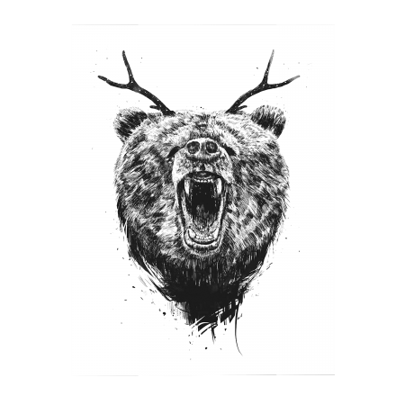 ART POSTER ANGRY BEAR WITH ANTLERS