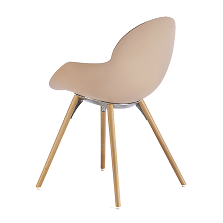 Chaise avec accoudoirs COOKIE WOODEN LEGS Rose Pâle INFINITI