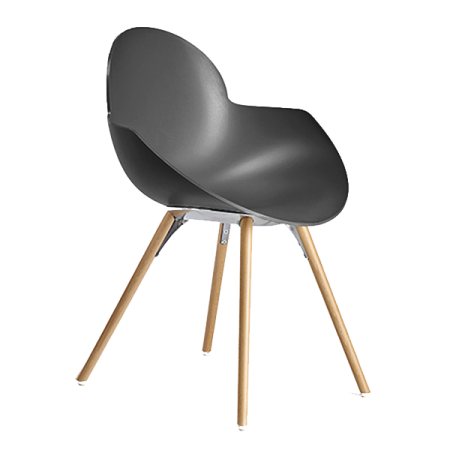 chaise avec accoudoirs COOKIE WOODEN LEGS (Anthracite - polycarbonate INFINITI