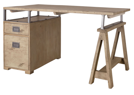 Bureau 140x78x80 - Bois de manguier laqué (Whitewashed) - RAILWAY