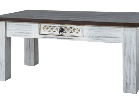 Table basse 110x60cm - Manguier ciré (Blanc antique)/Acacia laqué (Brun) - CASTLE ANTIK